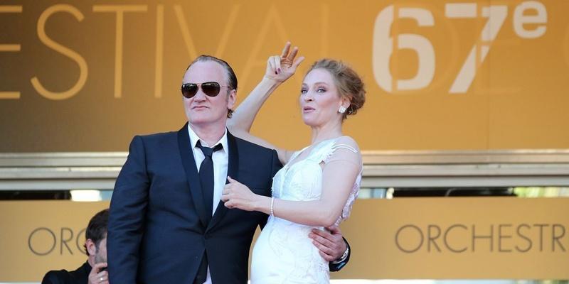 昆汀·塔伦蒂诺与乌玛·瑟曼参见第67届戛纳国际电影节闭幕红毯