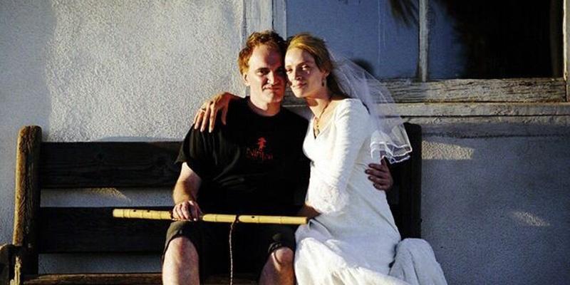 《杀死比尔》系列昆汀·塔伦蒂诺与乌玛·瑟曼片场留影