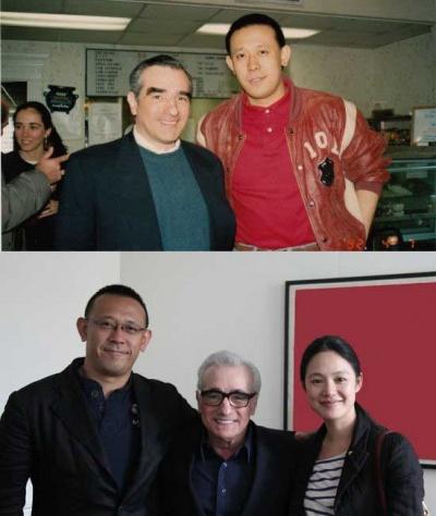 上图1992年姜文在纽约探班马丁·斯科塞斯;下图是2011年马丁·斯科塞斯邀请姜文导演携妻周韵做客他的电影工作室