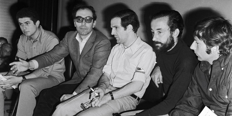 1968年的戛纳沙龙网上娱乐节遭遇五月风暴,左起依次是勒鲁什、戈达尔、特吕弗、马勒、波兰斯基