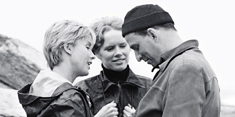 《假面》工作照,毕比·安德森(左)、丽芙·乌曼(中)和英格玛·伯格曼在法罗岛片场