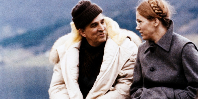 《秋天奏鸣曲》工作照,英格玛·伯格曼与丽芙·乌曼在法罗岛片场