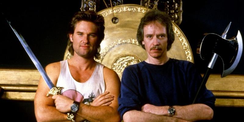 库尔特·拉塞尔与导演约翰·卡朋特(右)《纽约大逃亡》片场照