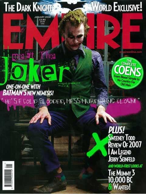 希斯·莱杰饰演的经典角色小丑登上《帝国》杂志封面
