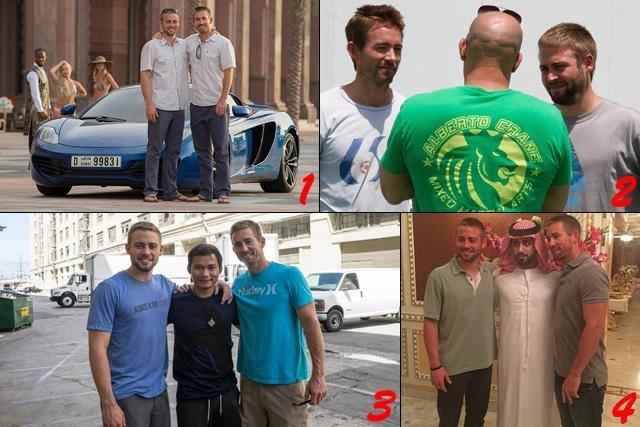 图1、图4,卡勒伯、科迪两兄弟在阿布扎比片场;图2,范·迪塞尔与兄弟俩交流;图3,两兄弟与托尼·贾合影